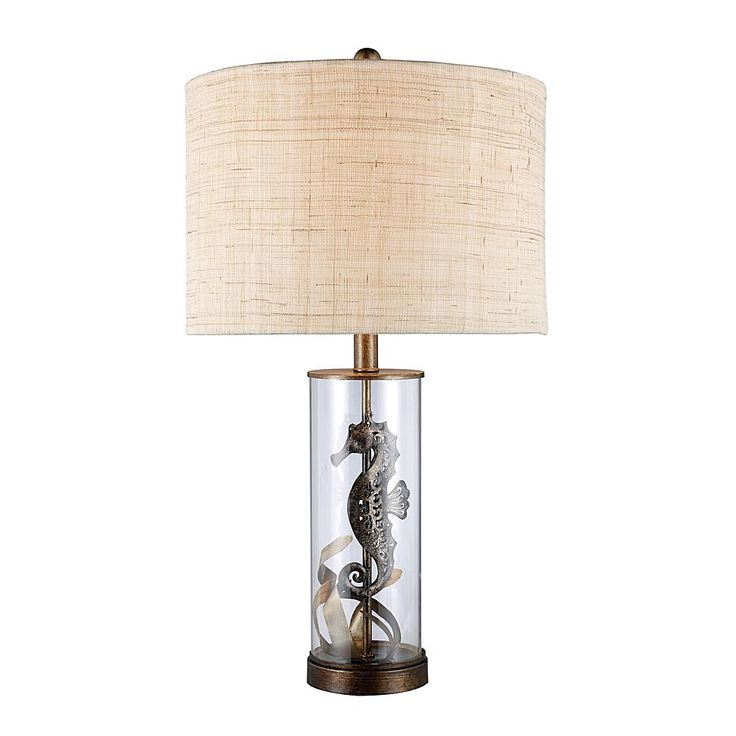 """Home Marketplace 26"""" Largo Seahorse Bronze and Clear Glass Table Lamp"""
