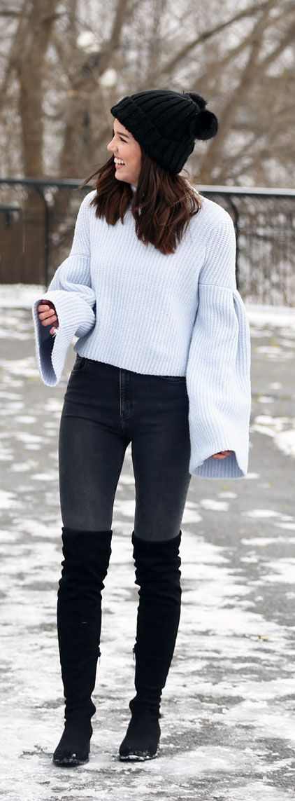 Most comfortable/cutest snow day outfit for winter. This H&M bell sleeve sweater is selling FAST! And these over the knee boots are so flattering and cost less than $100! By fashion blogger Marie's Bazaar