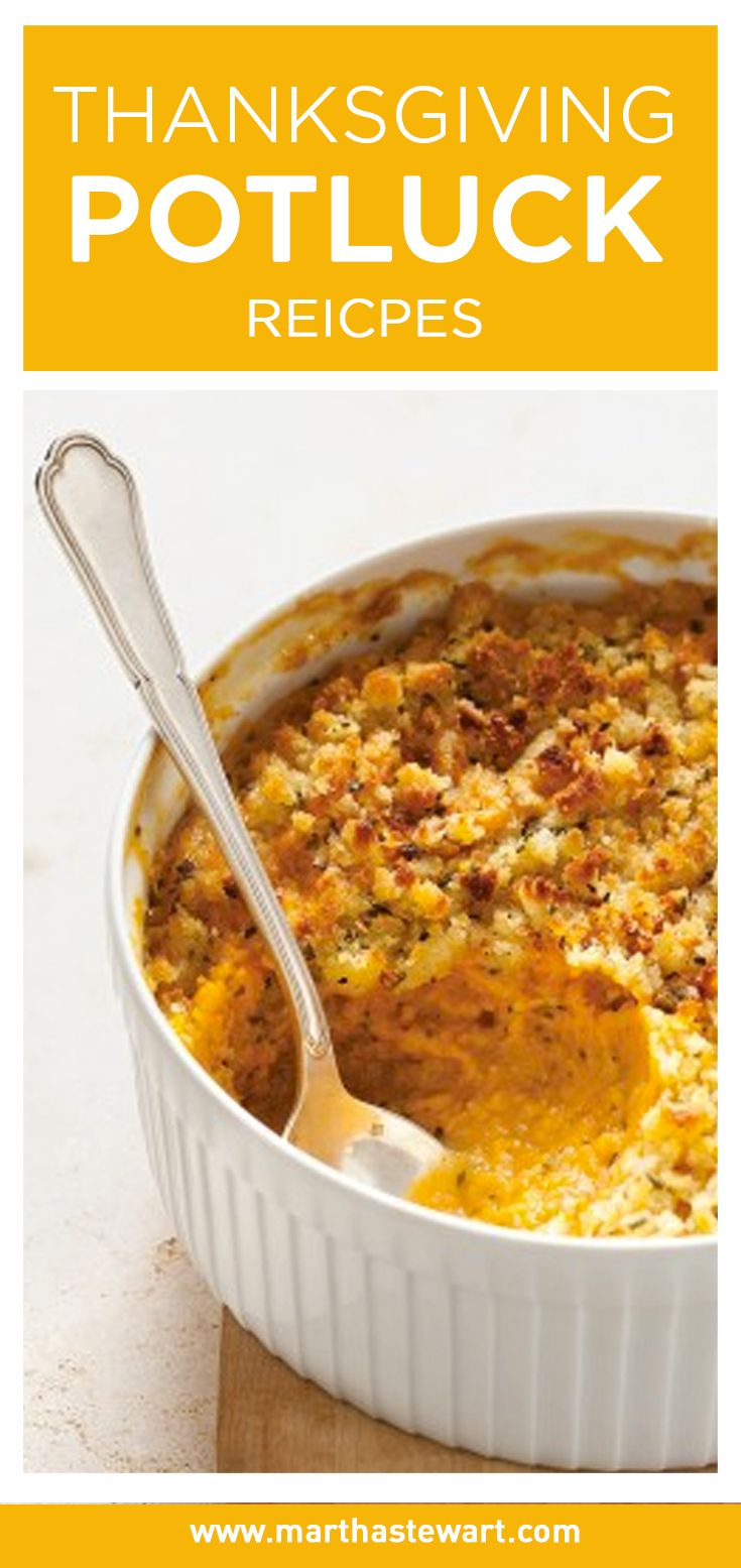 Look no further for great Thanksgiving potluck recipes, including casseroles, gratins, easy vegetable side dishes, and desserts. All of these recipes can be prepared ahead of time and brought to the holiday gathering. Many only require a bit of assembly or reheating in the oven, while others can be served right from the refrigerator or at room temperature.