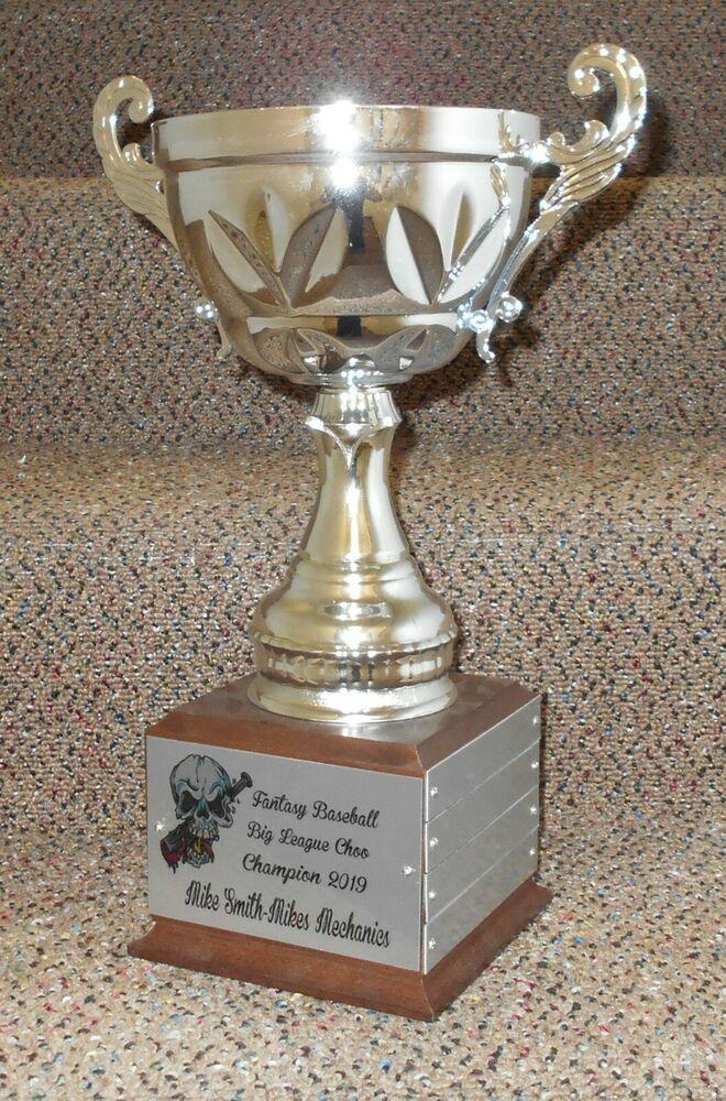 Fantasy Baseball Cup Trophy Award 15 12 Tag Perpetual Silver Metal Free Text Baseball Cup Fantasy Baseball Metallic Silver