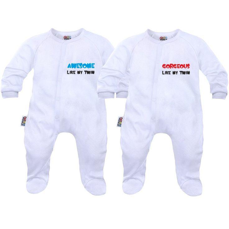 2 pyjamas bébé jumeaux: awesome / gorgeous like my twin - SiMedio