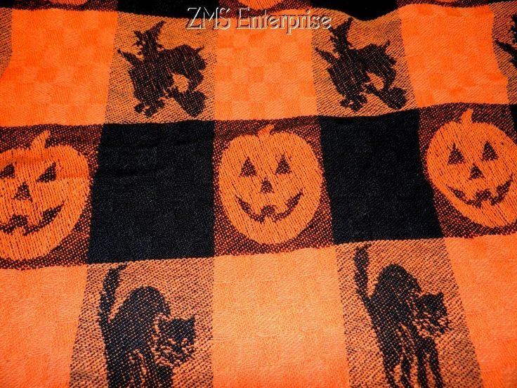 Avon Brand Halloween Black U0026 Orange Tablecloth  Jack  O Lanterns   Black  Cats