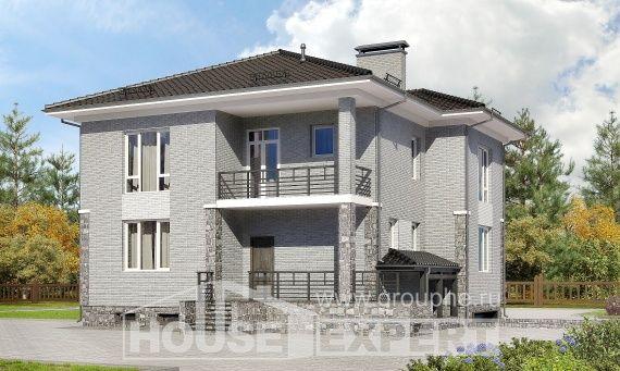 275-004-П Проект трехэтажного дома и гаражом, современный дом из кирпича