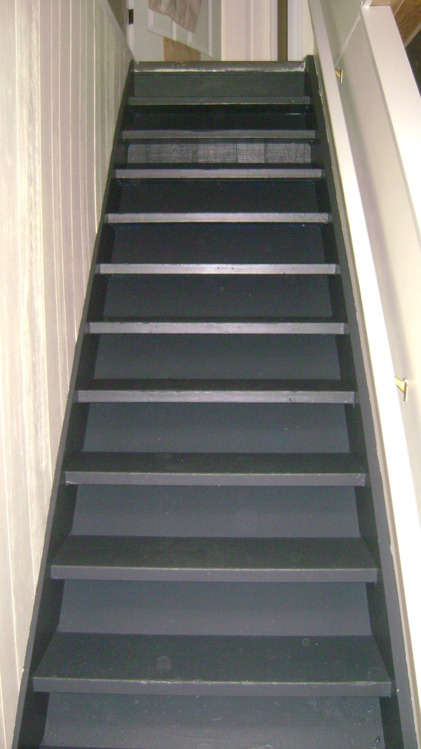 painted basement stairs. Black Bedroom Furniture Sets. Home Design Ideas