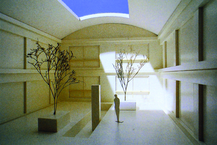 """FRANCESCO VENEZIA, """"Centro delle Esposizioni a Pompei"""" 2001-2002, modello in carton plume dell'interno di una delle corti, cm 29x33x27"""
