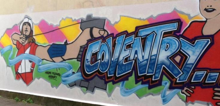 Graffiti featuring British archer Naomi Folkard