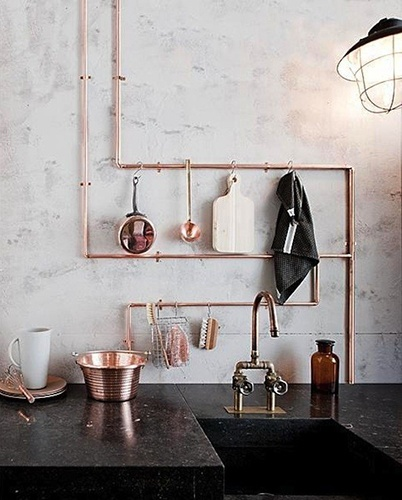 great copper hanging storage - INNER CITY SKYLINE - www.innercityskylineinc.com