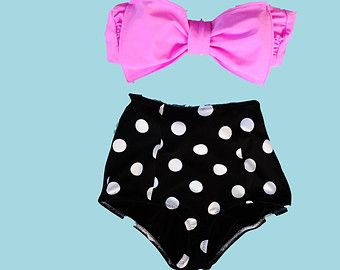 Bubble gum pink high waisted Bow bikini by Pita Pata Diva on Etsy