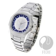 FERI Rapier - Mens Watch - Tungsten construction timepiece for men - Bears the FERI symbol in black over a blue and white face - Set with AAA cubic zirconia at the 3, 9 and 12 positions - Displays date just above the 6 placement - Sapphire glass protects the swiss movement - Provides 10 ATM of water resistance - 3 year limited manufacturer warranty  Invest with confidence in FERI Designer Lines.