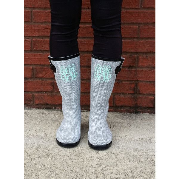 Monogrammed Boots Monogram Herringbone Rain Boots ($50) ❤ liked on Polyvore featuring shoes, boots, grey, women's shoes, waterproof wellington boots, monogrammed rain boots, glitter rain boots, grey rain boots and waterproof shoes
