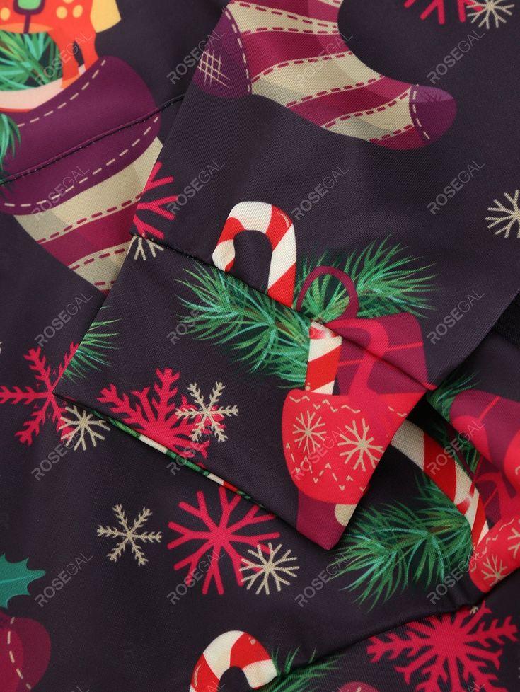 Christmas Stocking Print Front Pocket Drawstring Hoodie in