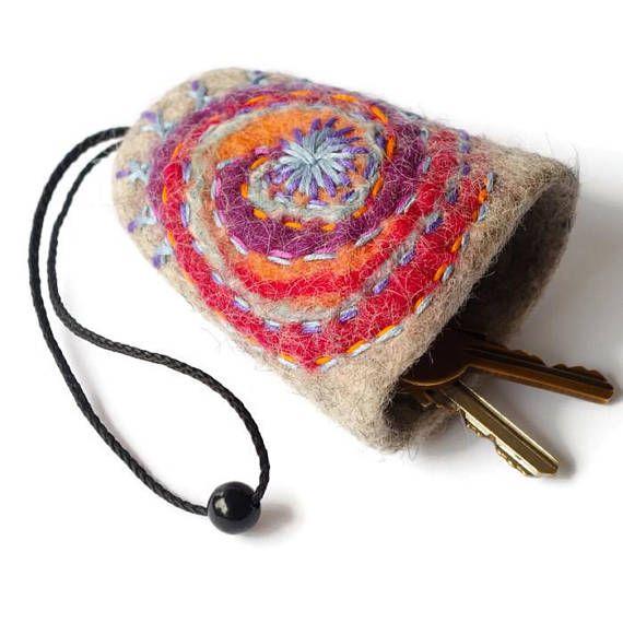 Galaxy key cover Boho key case Felted key pouch Best friends