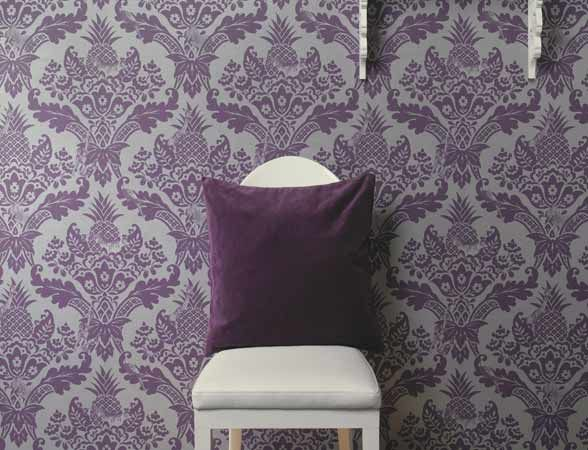 Purple and silver metallic damask pattern from the Paradise collection.  #wallpaper #purple #paisley #damask #paradise