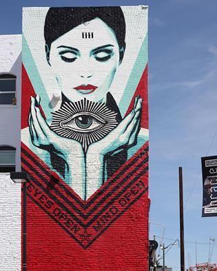 """Shepard Fairy, """"Eyes open, mind open"""" in Los Angeles, CA, USA, 2017"""