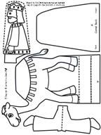 Black and white craft page to color of Printable Christmas craft for kids - Three Wisemen riding camel