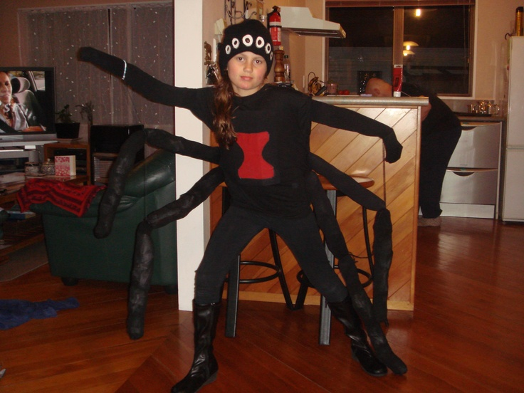 Black widow spider. Another one of my crazy costumes.Had a stuffed blach pillow on the back! Luckily Sophie loved wearing it.