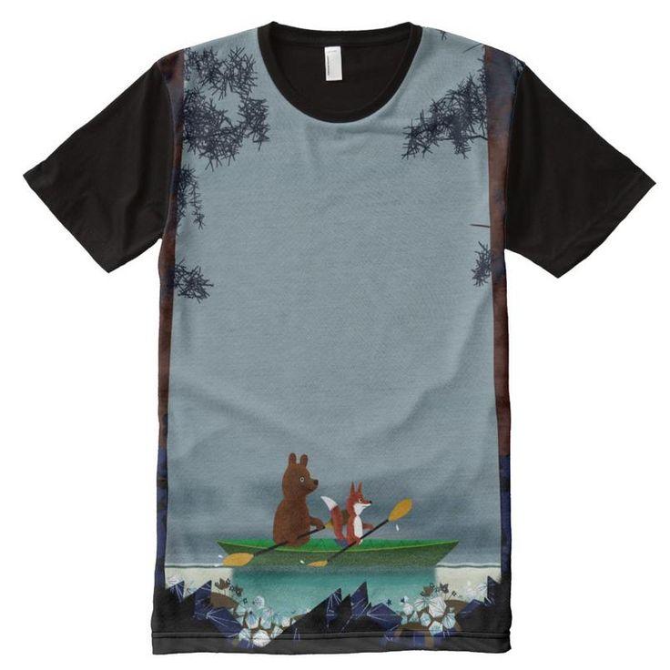 Bear and Fox kayaking All-Over Print T-shirt http://www.zazzle.com/bear_and_fox_kayaking_all_over_print_teeshirt_jakprintspaneltee-256682631278464059?CMPN=shareicon&lang=en&rf=238591529397726390… #bearandfox #zazzle #tshirt #tshirtdesign