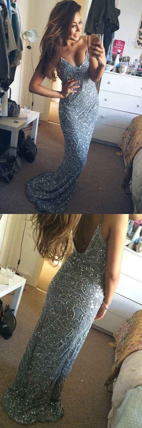 Stunning 2016 Mermaid Spaghetti Starps Beadings Appliques Long Prom Dress,Beaded Long Evening Dresses ,Sexy Party Dress,Sheath Evening Dresses