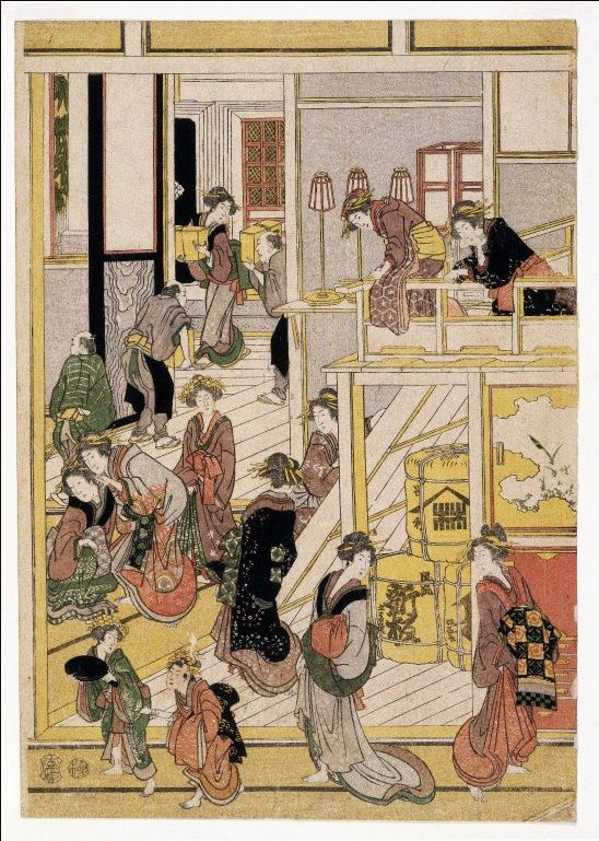Katsushika Hokusai - New Year's Days at the Teahouse Ogi-ya - 1808-1812 Discover the coolest art shows in NYC at: https://www.facebook.com/artexperiencenyc