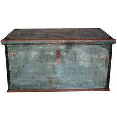 Swedish Hope Chest in Original Paint, Anno 1837