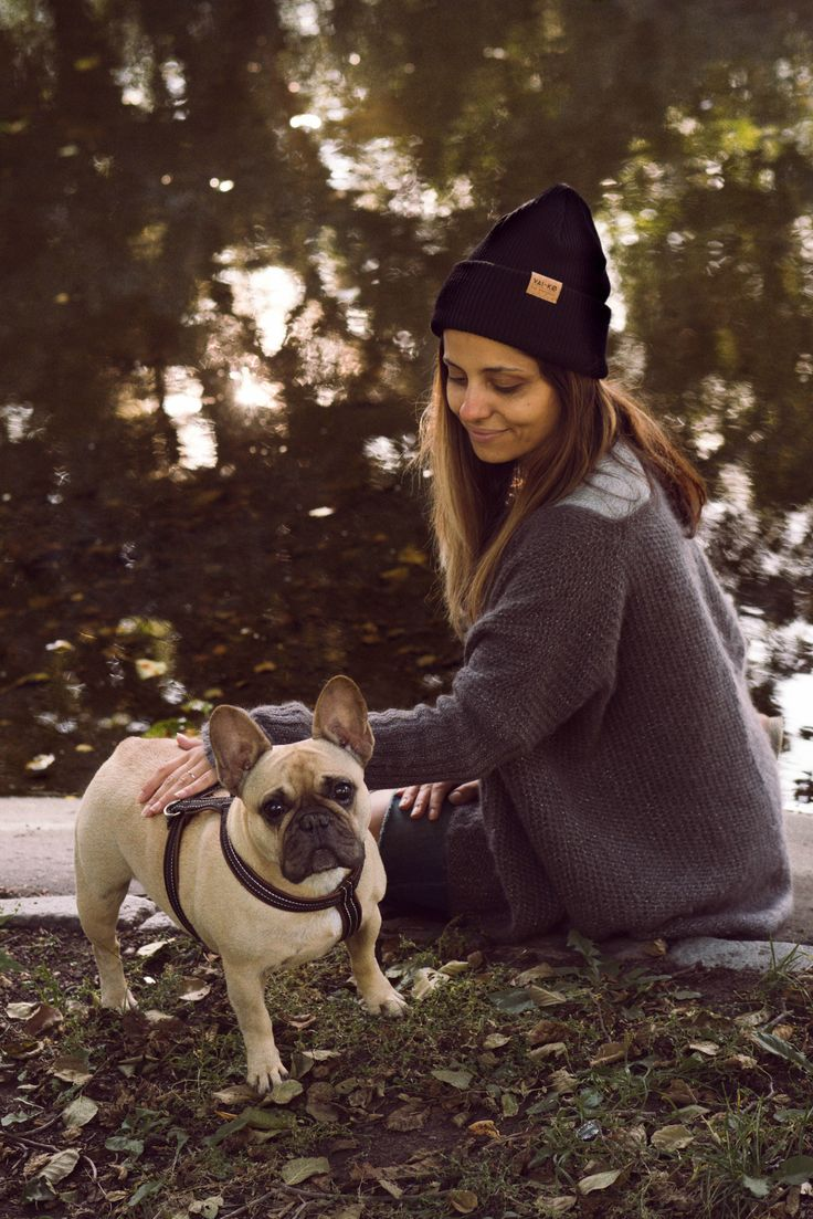 Casual Fall Outfit for Women. Doggo and his Mama. Black Wool Beanie for Women.