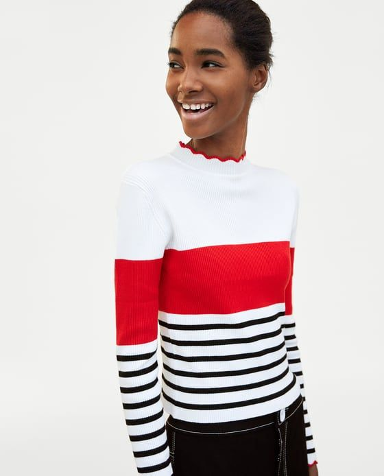 82eb4d0fbfcee Image 2 of STRIPED CROP TOP WITH SCALLOPED TRIMS from Zara