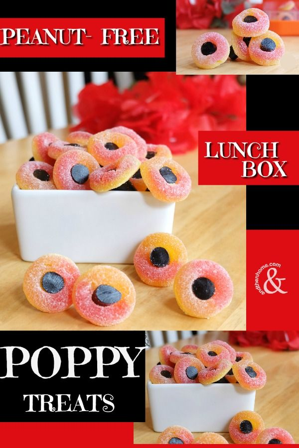 Remembrance Day Lunchbox Treats.  Easy to make Poppy Treats.  #remembranceday #poppy #poppies #lunchbox #bentobox #bento #candy #easylunchideas  http://www.andthenhome.com/easy-peanut-free-lunchbox-poppy-treat/