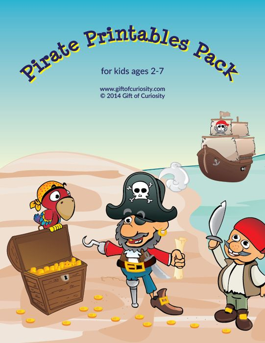 Download a free Pirates Printable Pack. The pack contains 74 pirate-themed activities for kids ages 2 to 7. The activities cover a range of skills, including shapes, colors, sizes, same vs. different, patterning, puzzles, fine motor, mazes, math, and literacy.