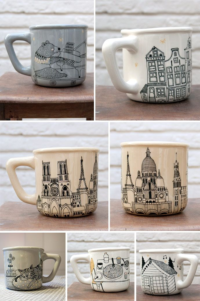 Great design for mug! Easy to do with Porcelaine 150 markers!