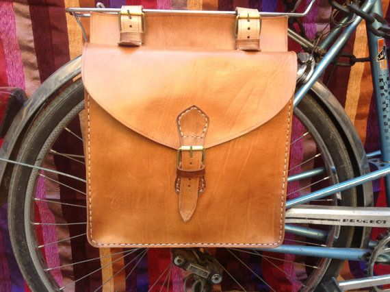 Leather Handmade Bicycle saddle bag by Leatherfinerwork on Etsy