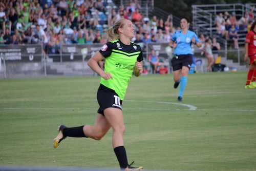 Norway's Elise Thorsnes scored her first goal for Canberra United, and then went on to score two more within 15 minutes of play in a 6-1 romp v Adelaide United FC. Photo by Loyal Football Co. 08.01.17