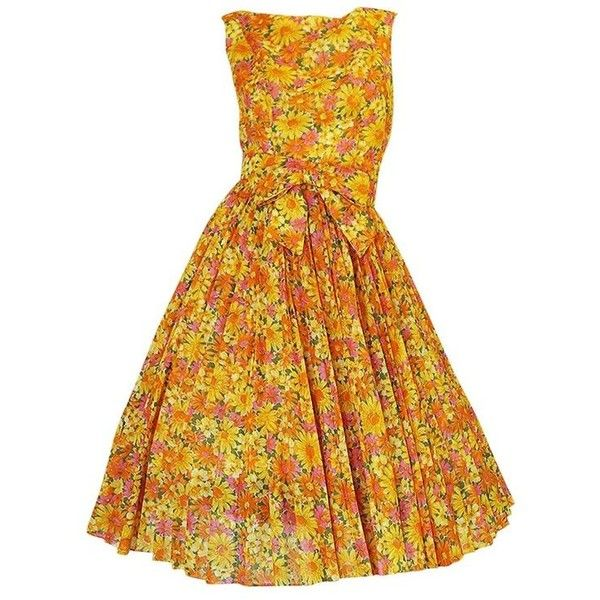 Preowned 1950s Suzy Perette Citrus Floral Cotton Voile Pleated Skirt... ($525) ❤ liked on Polyvore featuring dresses, day dresses, multiple, yellow cocktail dress, sleeveless dress, yellow dress, evening dresses and flared dresses