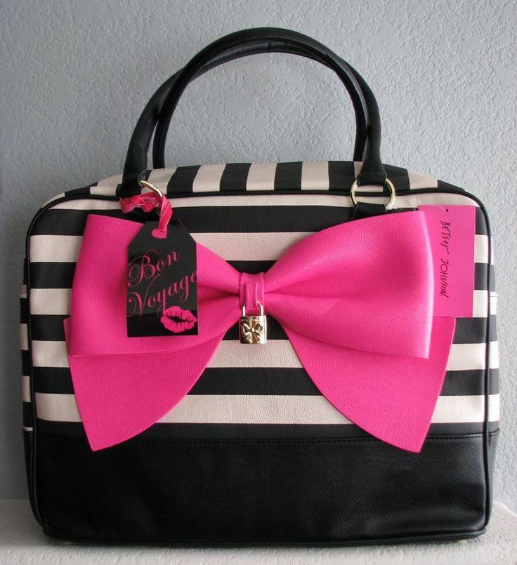 Betsey Johnson Bone Black Stripe Pink Bow Nanza X Large