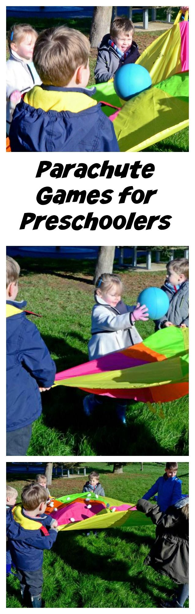 Parachute games for preschoolers #LearningIsFun