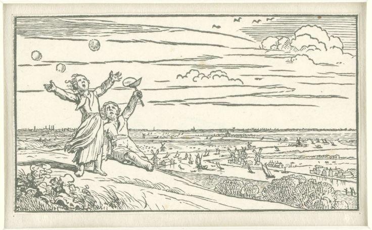 Dirck de Bray | Mei, Dirck de Bray, 1635 - 1694 | Twee kinderen op een heuvel bewonderen hun geblazen zeepbellen. Op de achtergrond een uitgestrekt landschap met een rivier.