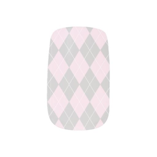 Baby Girl Pink Argyle Minx Fingernail Decals
