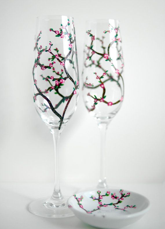 Personalized Cherry Blossom Toasting Flutes and Ring Dish-3 Piece (Mary Elizabeth Arts)