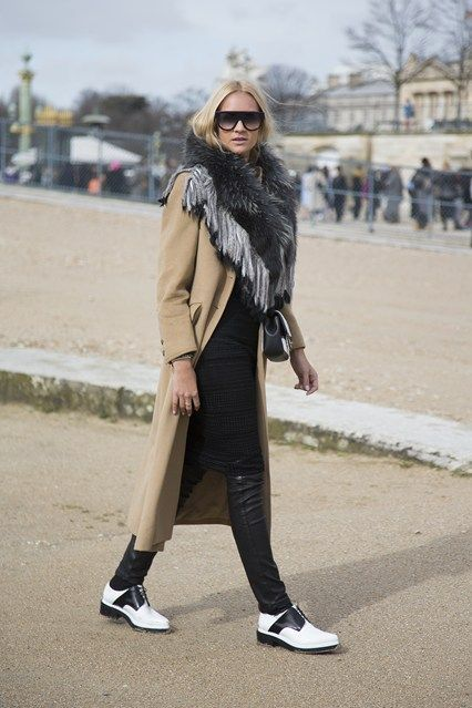 Leather skinnies and a camel coat complete this fall ensemble.