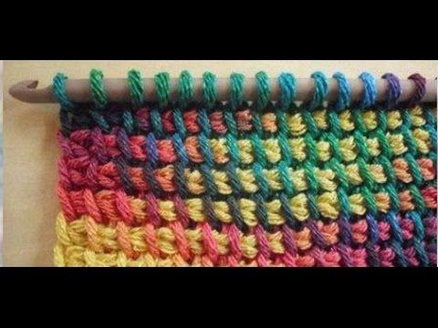 Crochet tunecino punto holas del mar. - YouTube