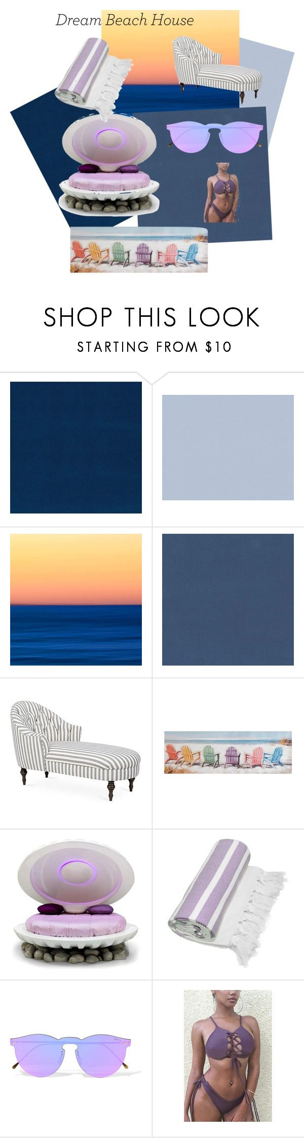 """""""Dream Beach House"""" by musicaltheater ❤ liked on Polyvore featuring interior, interiors, interior design, home, home decor, interior decorating, BD Fine Wallcoverings, Osborne & Little, Kim Salmela and Linum Home Textiles"""