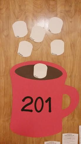Hot chocolate and marshmallow door tag great idea for suited rooms like Honors & Northside maybe???