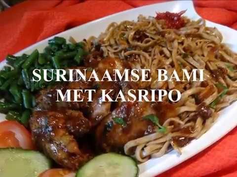 Surinaamse bami met kasripo kip (heerlijk met verse rode peper sambal en...