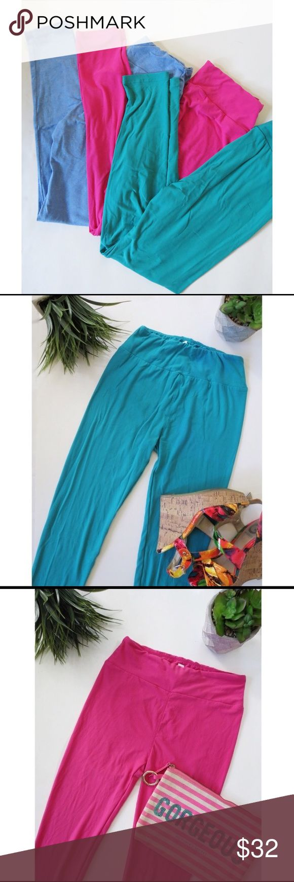 ✨ ONE DAY ONLY! ✨Lula Roe bundle deal ONE DAY SALE! Lula Roe bundle deal. This awesome deal includes three pairs of one size leggings from lula roe. Gorgeous teal color, fuchsia color and ocean blue color. Great basic leggings to match with all your fall faves! All in great condition. LuLaRoe Pants Leggings