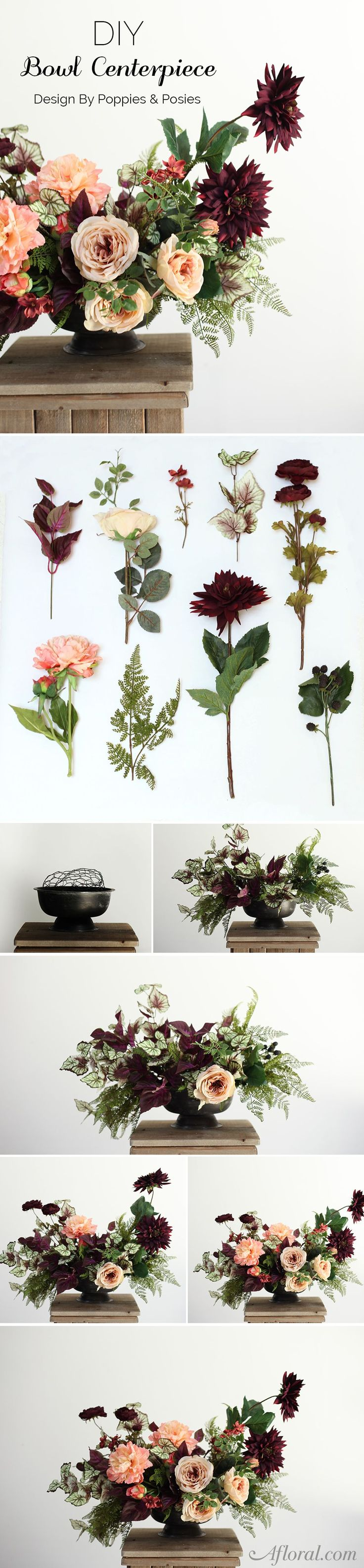 Learn how to make a bowl centerpiece with faux flowers from afloral.com with this step by step DIY from Poppies and Posies #diywedding