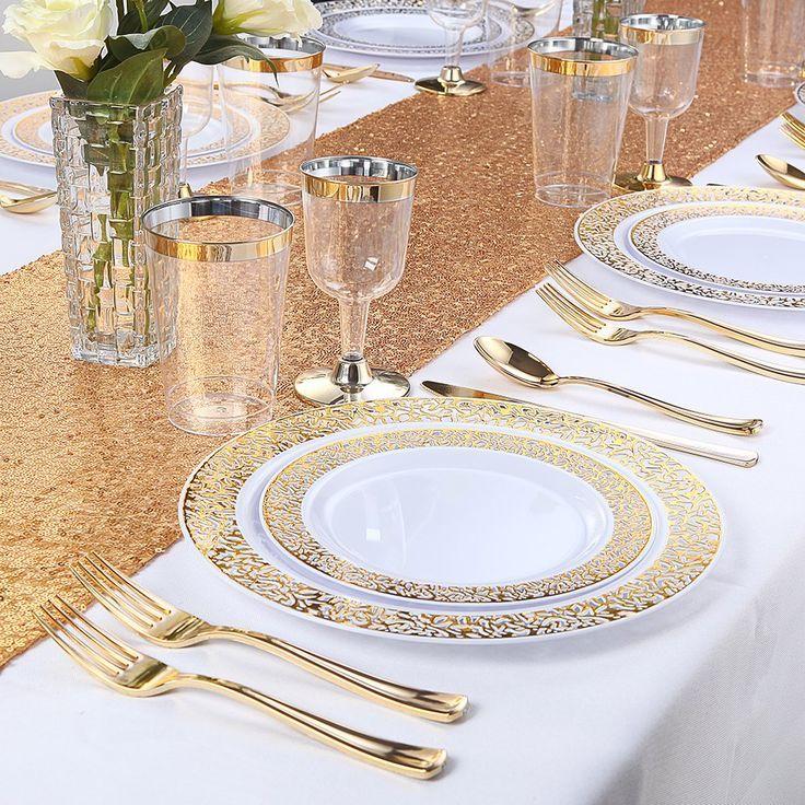 150PCS Gold Plastic Plates with Disposable Plastic Silverware,Lace Design Plasti