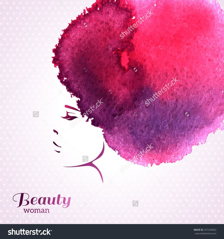 Fashion Woman Portrait with Watercolor Stain like Hair. Vector Illustration. Stylish Design for Beauty Salon Flyer or Banner. Girl Silhouette. Cosmetics. Beauty. Health and spa. Fashion themes.