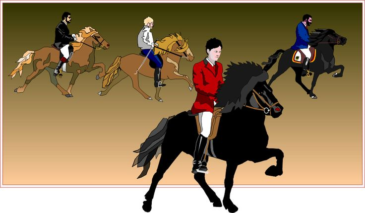 Legendarische ruiters en paarden; Bernd Vith op  Roidur, Albert Jonson op  Hervar, Andreas Trappe op Tyr en Runa Einarsdottir op Orri