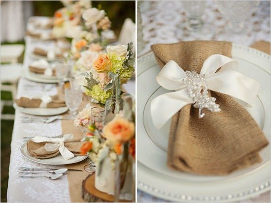 Rustic burlap table setting