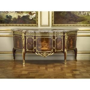 Made by  Roger Vandercruse Lacroix (1728–1799) under the direction of Gilles Joubert (1689–1775), Commode with Pictorial Marquetry, France, 1769, oak veneered with various woods including maple, pearwood, bloodwood, and amaranth, gilt-bronze, marble, 35 ¾ x 73 ½ x 26 ½ inches, The Frick Collection, New York;  photo: Michael Bodycomb