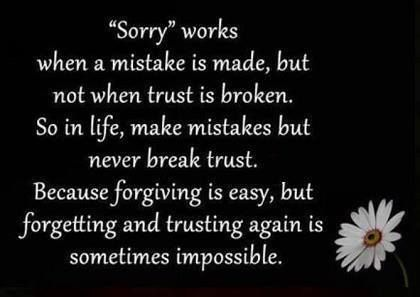 Once trust is broken, there is NOTHING you can do to get it back the way it used to be.... Thoughts, Life Quotes, Breaki...